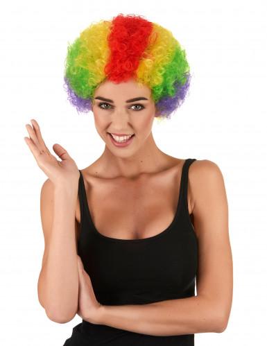 Afro-Perücke Clown bunt für Erwachsene