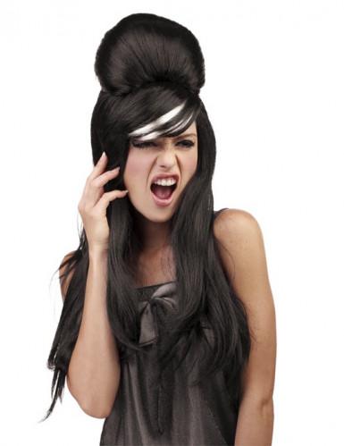 Promi-Perücke Langhaar mit Frisur schwarz