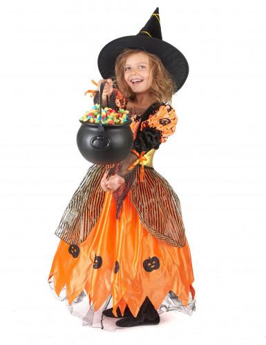 Hexen-Kinderkostüm für Halloween schwarz-orangefarben-1