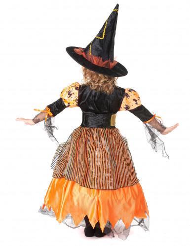 Hexen-Kinderkostüm für Halloween schwarz-orangefarben-2