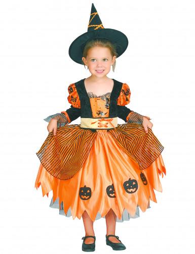 Hexen-Kinderkostüm für Halloween schwarz-orangefarben-3