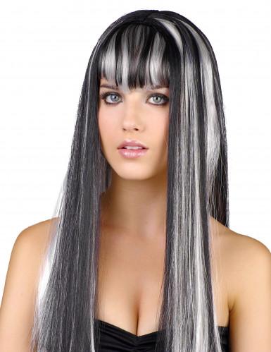 schwarz-weiße Langhaar-Perücke für Damen