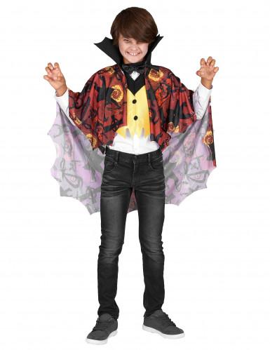 Vampir-Jungenkostüm mit Halloween-Motiven rot-weiß-gelb-schwarz