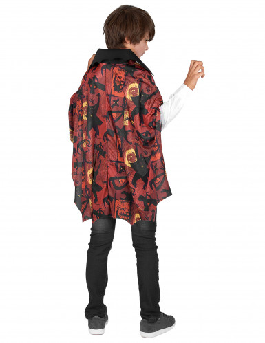 Vampir-Jungenkostüm mit Halloween-Motiven rot-weiß-gelb-schwarz-2
