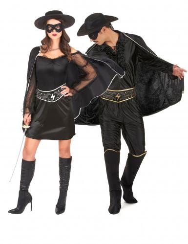 Zorro Paarkostüm für Erwachsene schwarz