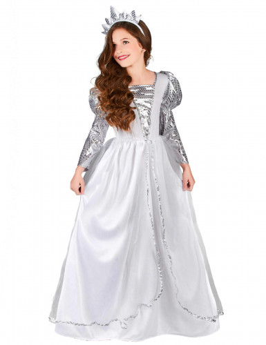 Prinzessinnen-Kostüm mit Krone für Mädchen weiss-silberfarben