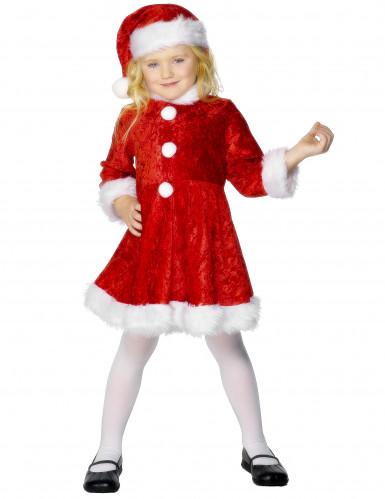 Mädchenkostüm Weihnachtsfrau mit Hut und flauschigen Abschlüssen
