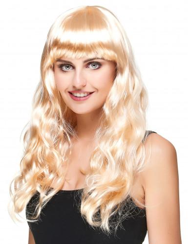Langhaar-Perücke für Damen wellig mit Pony blond