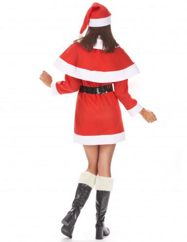 Damenkostüm Santa Weihnachtsfrau mit Umhang und Hut-2