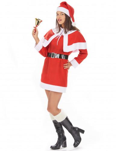 Damenkostüm Santa Weihnachtsfrau mit Umhang und Hut-1