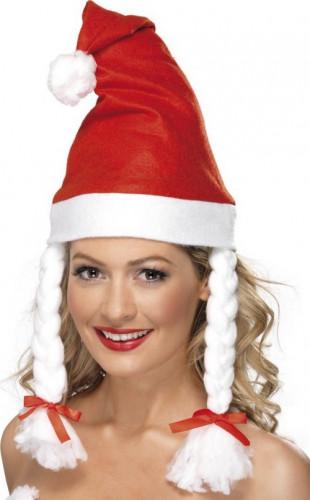 Weihnachtsfraumütze mit Zöpfen