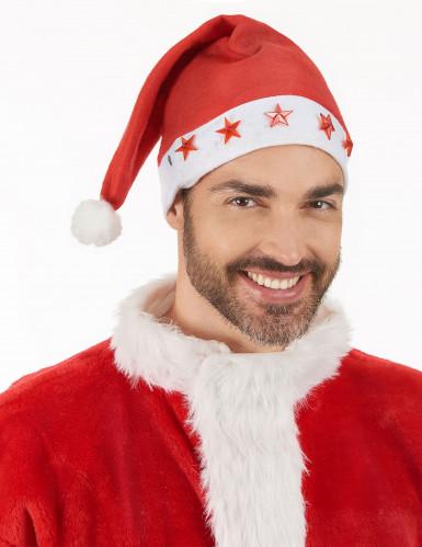 Weihnachtsmütze leuchtend Nikolaus rot-weiss-2