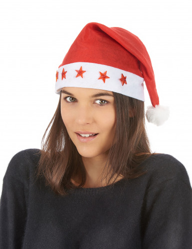 Weihnachtsmütze leuchtend Nikolaus rot-weiss-1