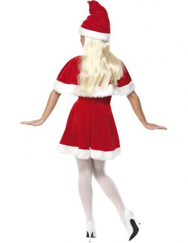 Samteffekt Weihnachtsfrau-Kostüm für Damen mit Umhang-1