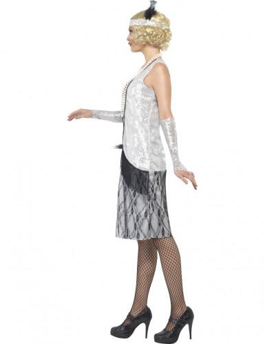 Charleston-Kostüm für Damen 20er-Jahre weiss-schwarz-1