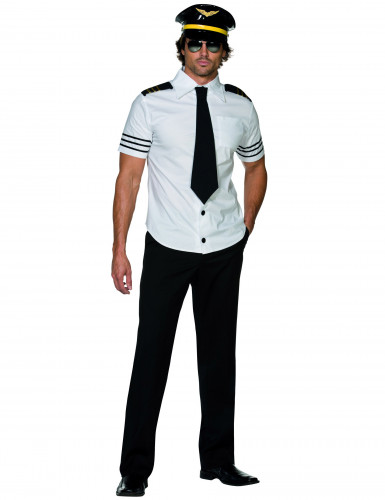 Piloten-Herrenkostüm schwarz-weiss-goldfarben