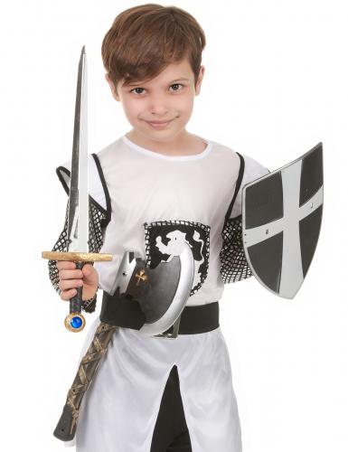 Schild Schwert und Axt eines mittelalterlichen Ritters-1