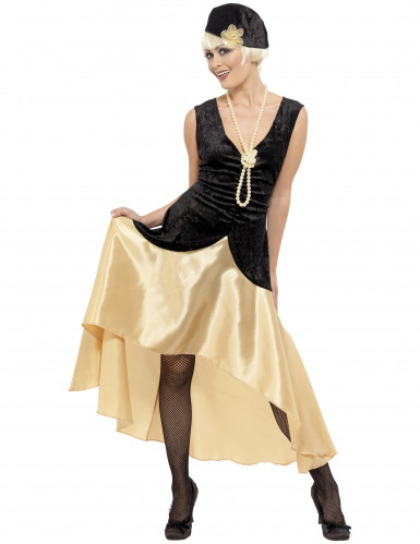 Schwarz-goldenes Charleston-Kostüm für Damen