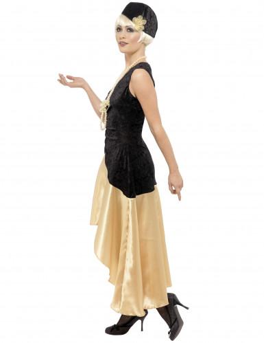 Schwarz-goldenes Charleston-Kostüm für Damen-1
