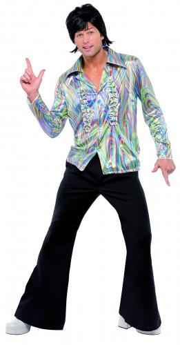 70er Jahre Disco-Kostüm für Herren regenbogenfarben-schwarz