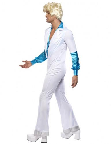 Disco-Kostüm für Herren Kostüm-Overall weiss-türkis-3