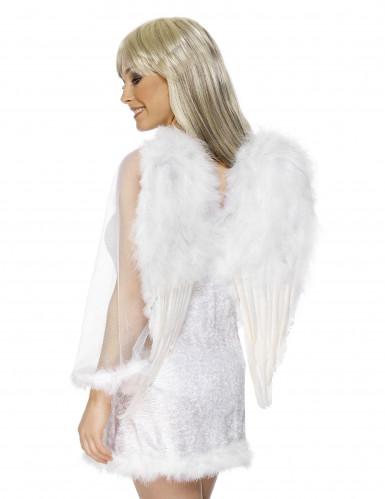 Weiße Flügel mit Federn für Erwachsene