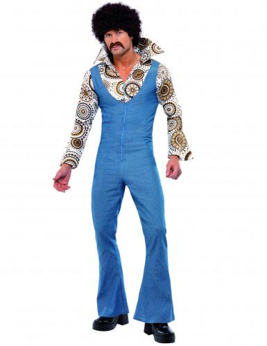 70er Jahre Disco-Kostüm Overall für Herren blau