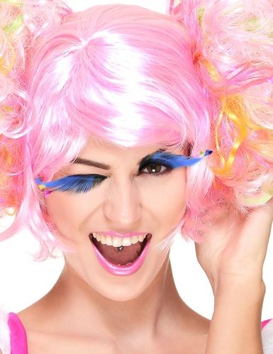 Falsche blaue Wimpern mit Federn