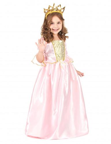 Prinzessinnenkostüm für Mädchen mit Krone rosa-goldfarben