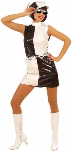 Schwarz-weißes 60er Jahre Kostüm für Damen