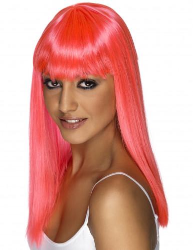 Glamouröse rosa Perücke für Damen