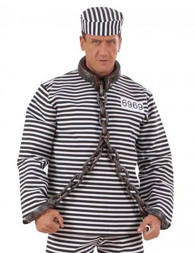 Fussfessel Gefangenen-Kette Kostümzubehör grau-1