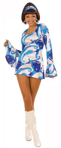 Disco-Kostüm blau für Damen