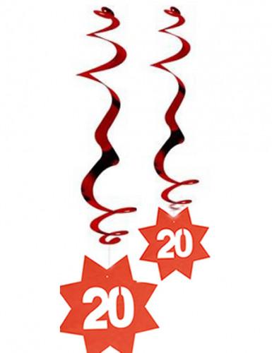 2er-Set metallic-rote, feuerfeste Spiral-Hängedekos