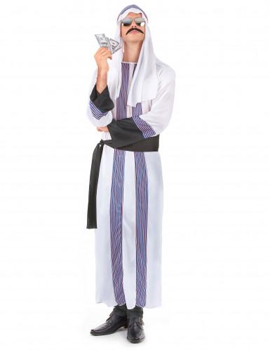 Arabischer-Scheich-Kostüm für Herren weiß mit blau-roten Streifen