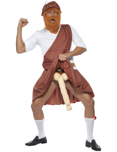 Lustiges Schotten-Kostüm für Herren weiss-rot