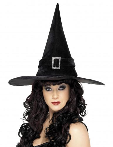 Halloween-Hexenhut für Damen schwarz