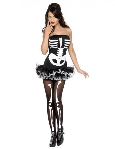 Sexy Halloween Skelett-Kostüm für Damen-1