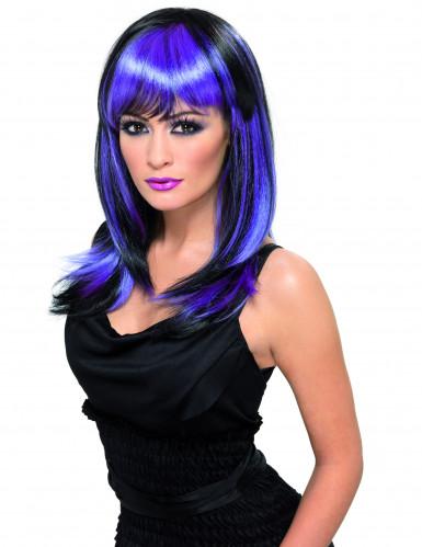 Langhaar-Perücke für Damen mit Pony violett-schwarz