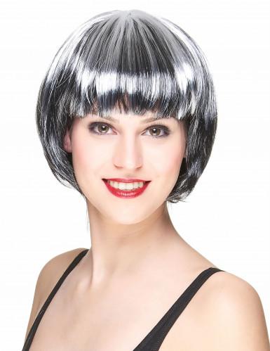 Schwarz-weiße Kurzhaar-Perücke für Damen