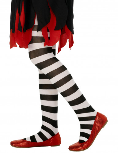 Schwarz-weiße Halloween-Strumpfhose für Kinder