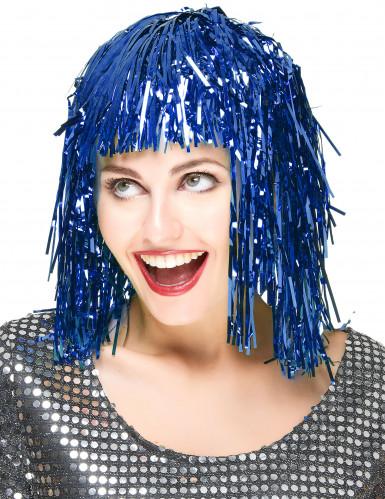 Folienperücke Lametta blau für Damen