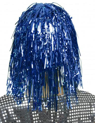 Folienperücke Lametta blau für Damen-1