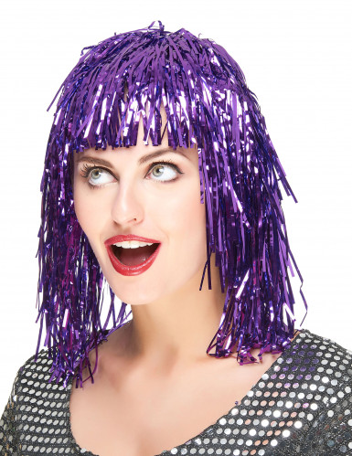 Folienperücke Lametta violett für Damen