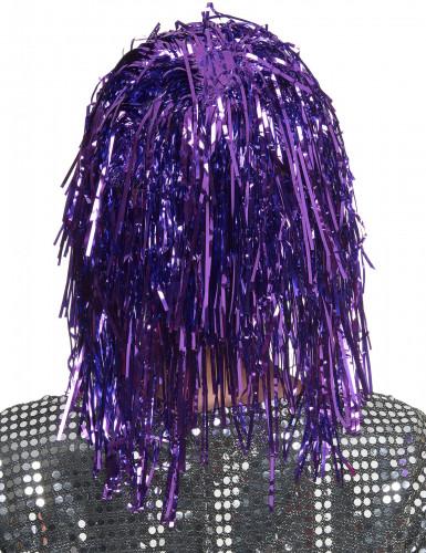 Folienperücke Lametta violett für Damen-1