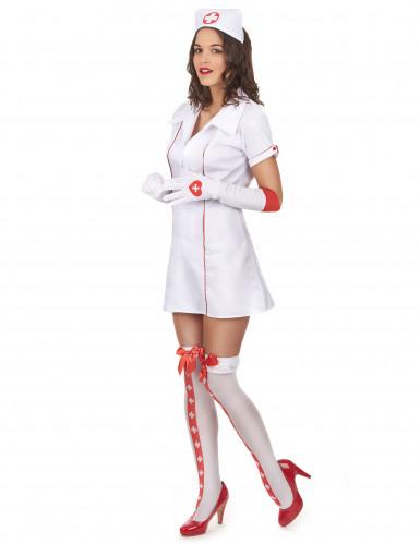 Sexy Krankenschwesterkostüm für Damen weiss-rot-1