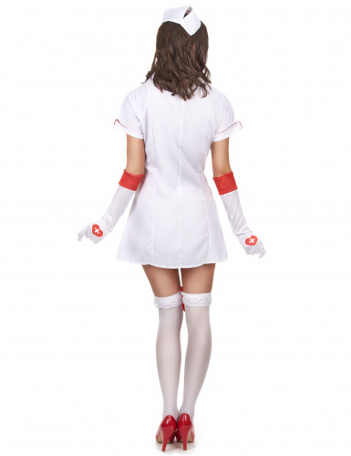 Sexy Krankenschwesterkostüm für Damen weiss-rot-2