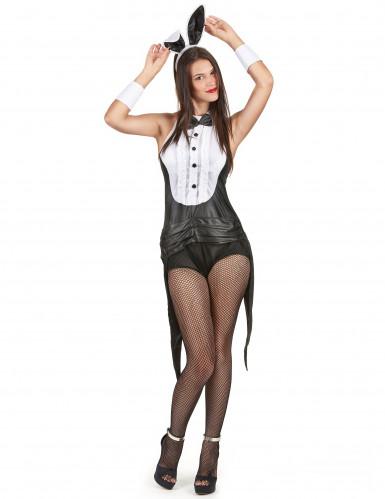 Sexy Häschen-Kostüm für Damen schwarz-weiss