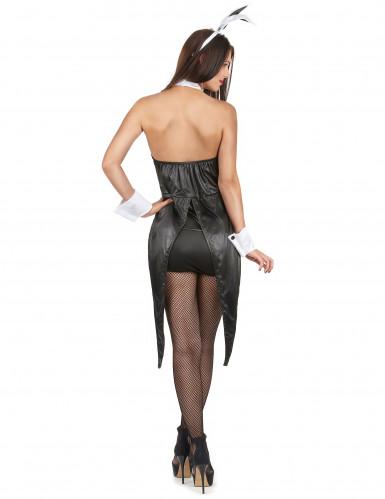 Sexy Häschen-Kostüm für Damen schwarz-weiss-2