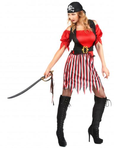 Piratenbraut-Kostüm für Damen schwarz-weiss-rot